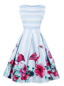 Flamingo Print Striped Box Pleated Dress With Belt
