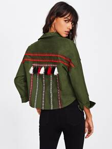 Embroidery Tape And Tassel Detail Military Jacket