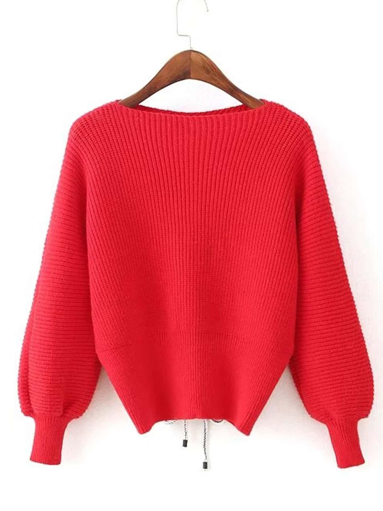 Lace Up Back Lantern Sleeve Sweater lace up sleeve waffle knit sweater