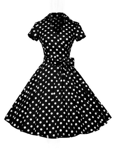 Surplice Neckline Bow Tie Polka Dot Circle Dress