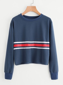 Raw Hem Striped Sweatshirt