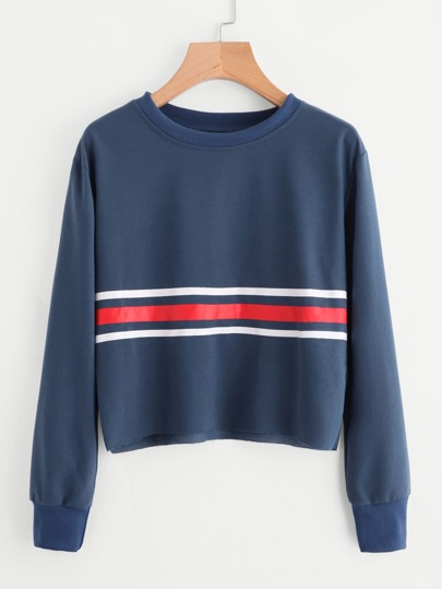 Raw Hem Striped Sweatshirt