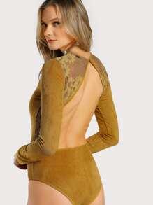 Floral Lace Trim Open Back Suede Bodysuit
