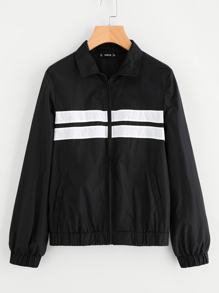 Striped Panel Front Windbreaker Jacket