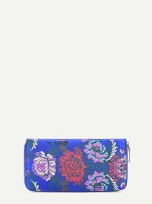 Cartera de satén con bordado de flor