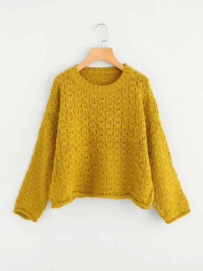 Crochet Pattern Pullover Sweater -SheIn(Sheinside)