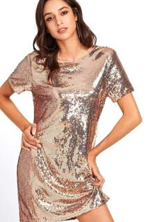 Metallic Sequin Tunic Dress