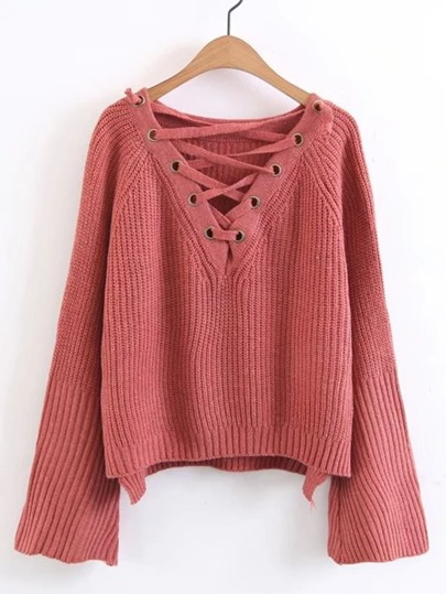 Lace Up Plunge Neckline High Low Sweater