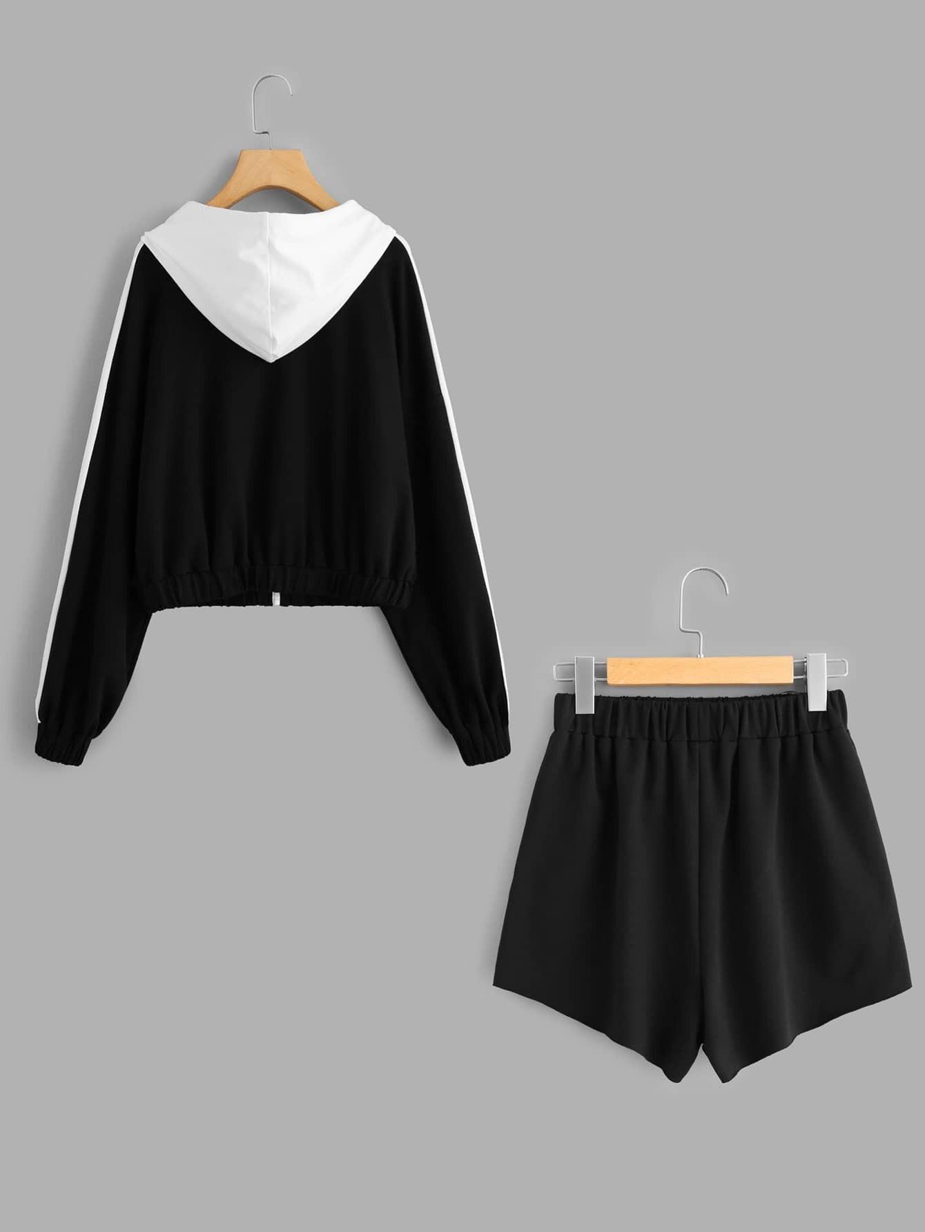Contrast Hood Sweatshirt & Shorts Set