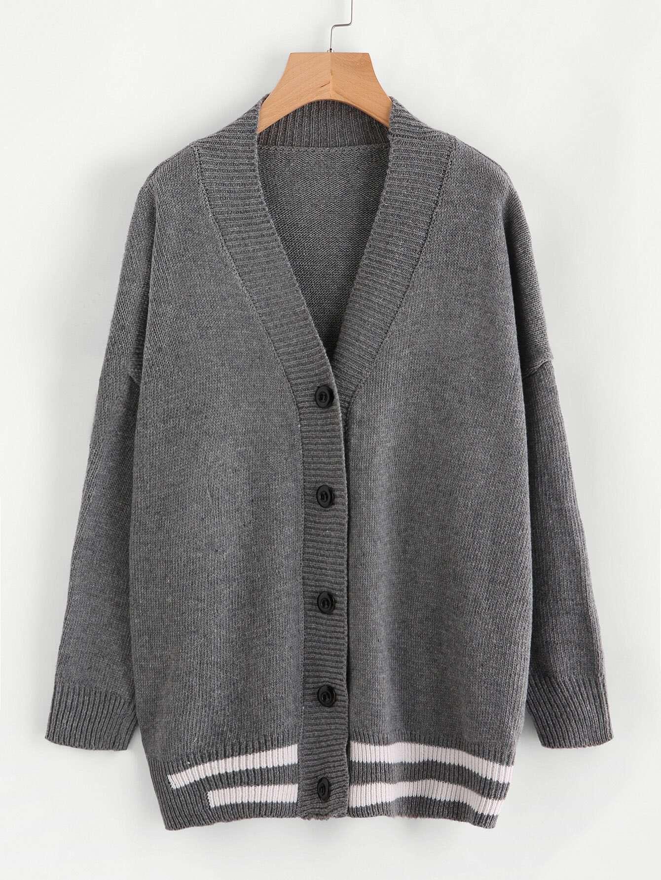 Striped Trim Drop Shoulder Sweater Coat sweater170914101