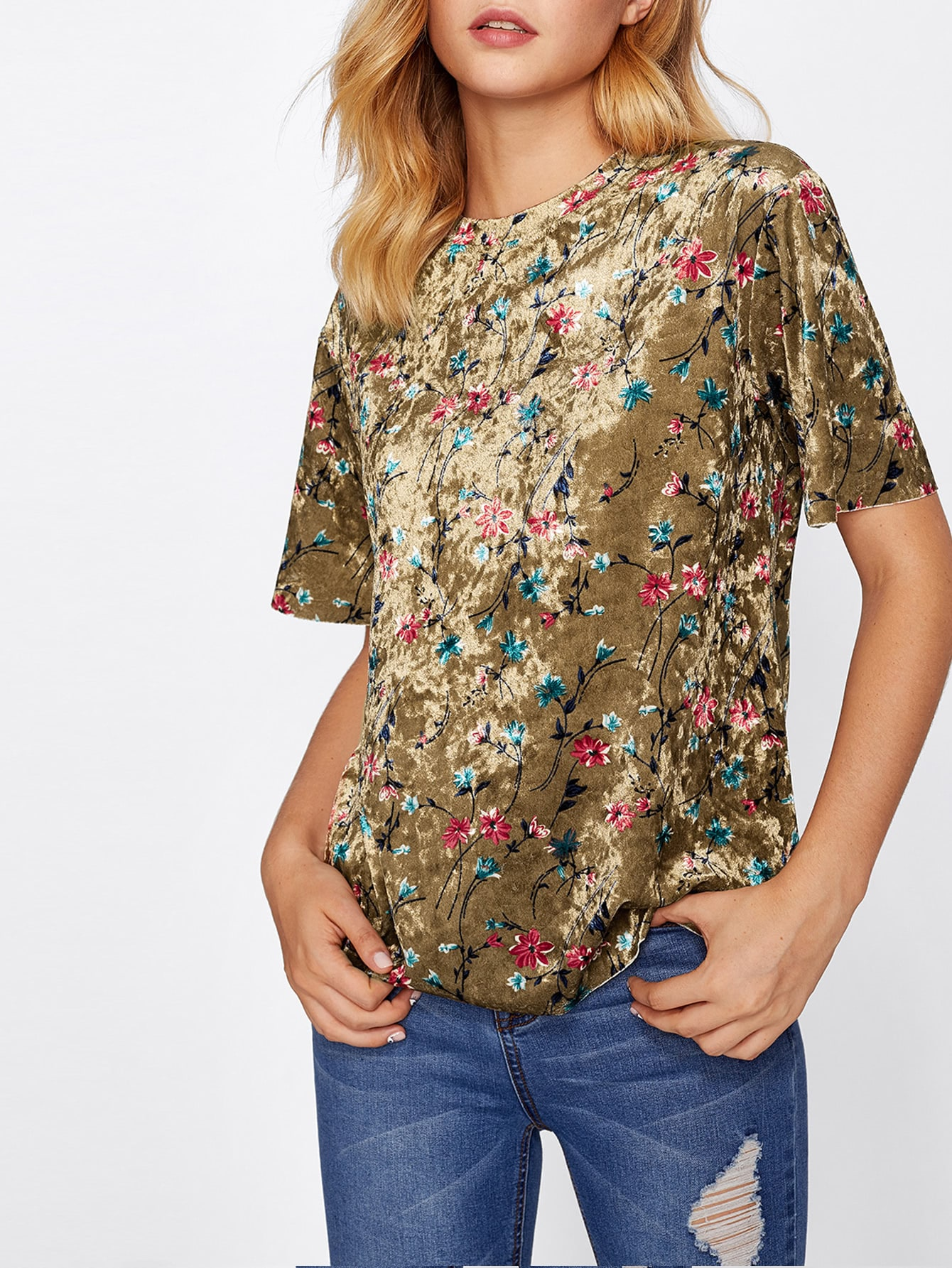 Botanical Crushed Velvet Top tee170901701