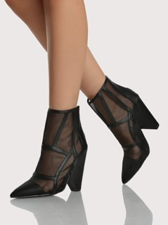 Point Toe Cut Out Ankle Boots BLACK