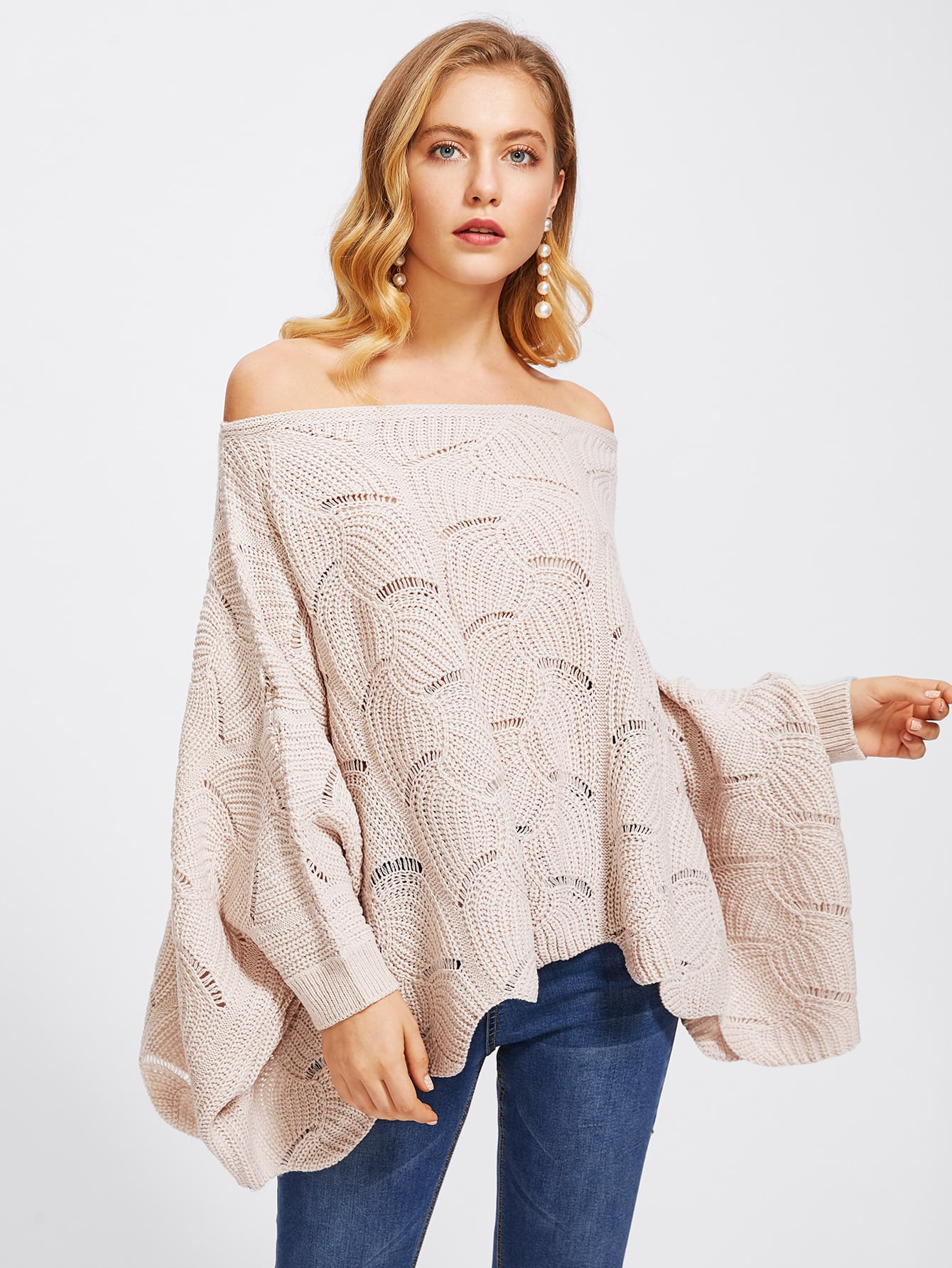 Loose Knit Scalloped Dolman Sweater loose knit scalloped dolman sweater