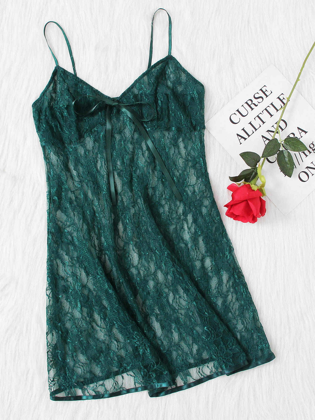 Bow Detail Lace Cami Nightdress lace detail cami dress