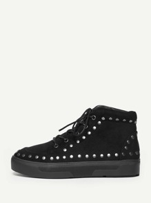 Studded Detail Lace Up High Top Trainers