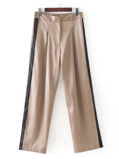 Contrast Tape Satin Pants
