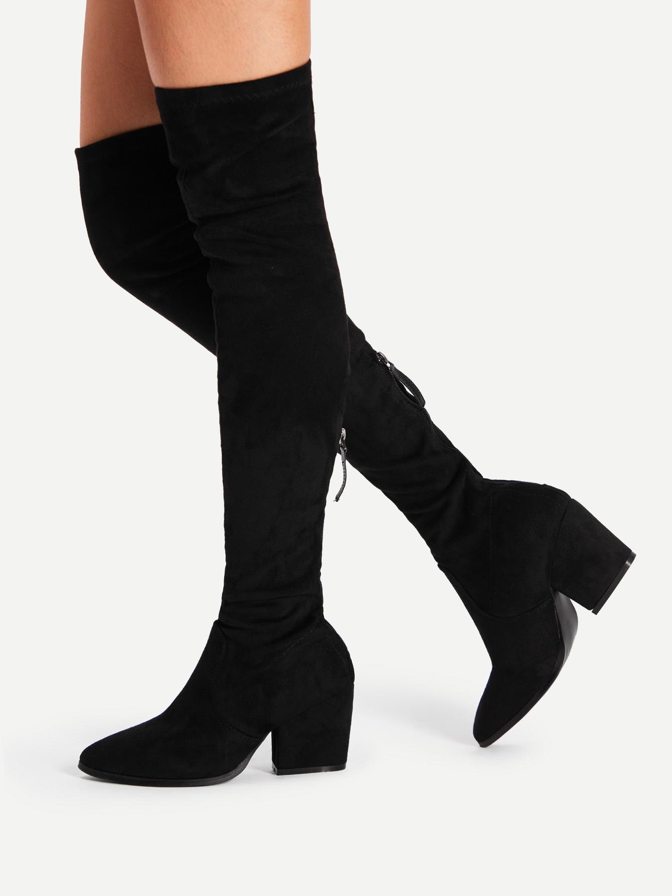 pointed toe suede thigh high boots shein sheinside