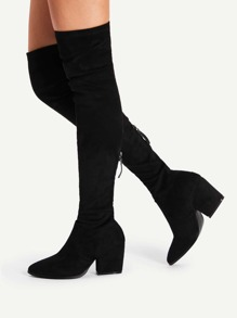 Pointed Toe Suede Thigh High Boots