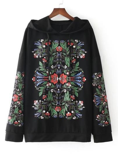 Symmetrical Flower Print Hoodie