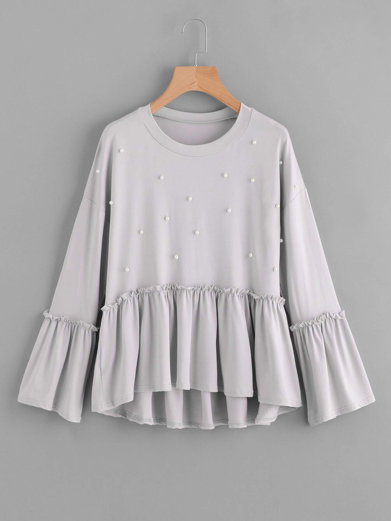 Pearl Detail Fluted Sleeve Frill Hem Tee pearl detail frill off shoulder dress