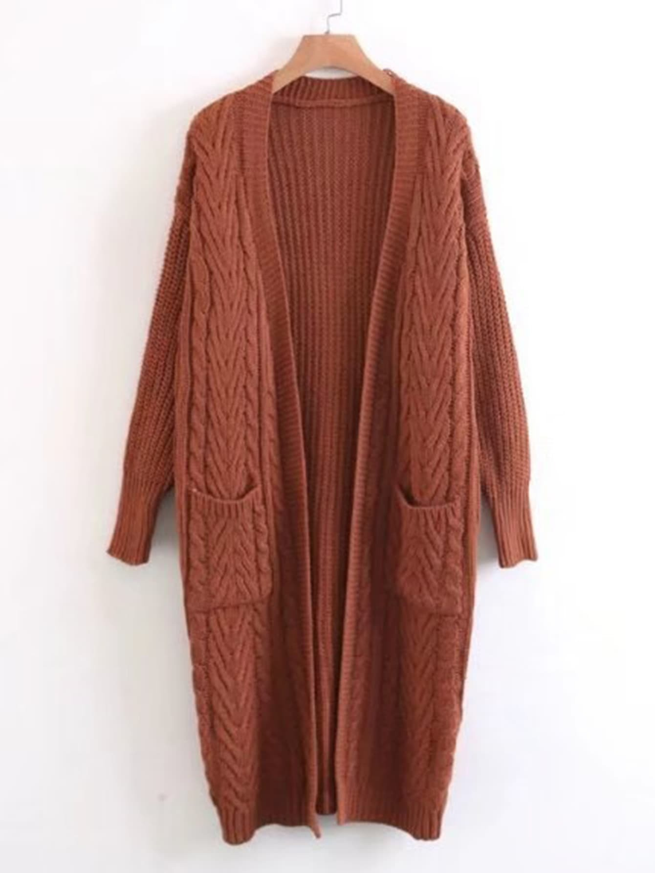 Open Front Cable Knit Longline Sweater Coat -SheIn(Sheinside)