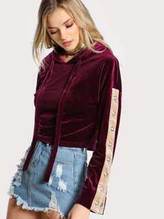 Velvet Snap Button Sleeve Hoodie BURGUNDY