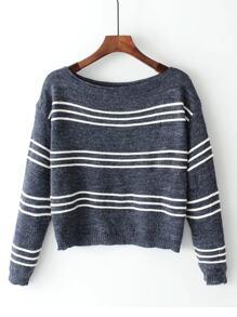 Strick Pullover mit Boot Ausschnitt und Streifen