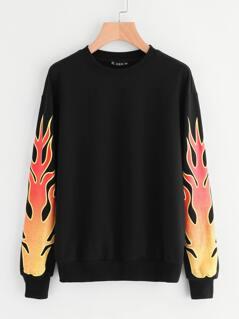Drop Shoulder Printed Sleeve Sweatshirt