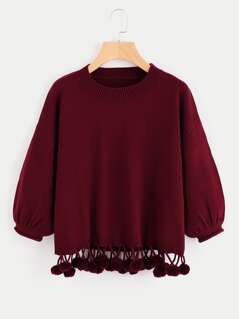 Dropped Shoulder Lantern Sleeve Pom Pom Hem Jumper