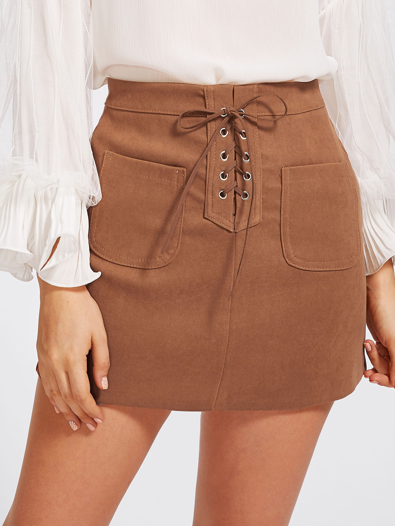 Grommet Lace Up Dual Pocket Skirt black lace up fly dual pocket raw hem skirt