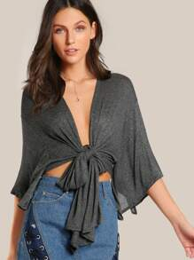 Front Tie Short Sleeve Cardigan GREY