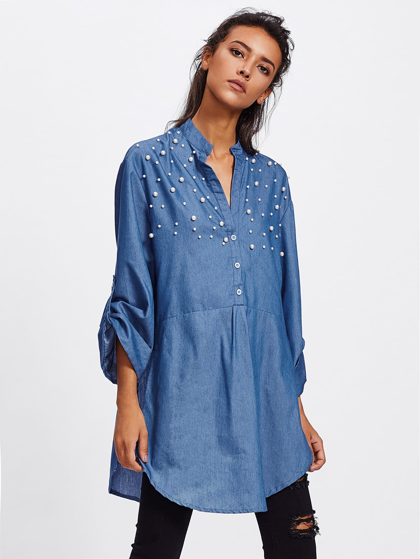 Image of Faux Pearl Yoke Rolled Up Sleeve Shirt