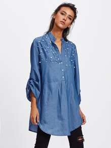 Faux Pearl Yoke Rolled Up Sleeve Shirt