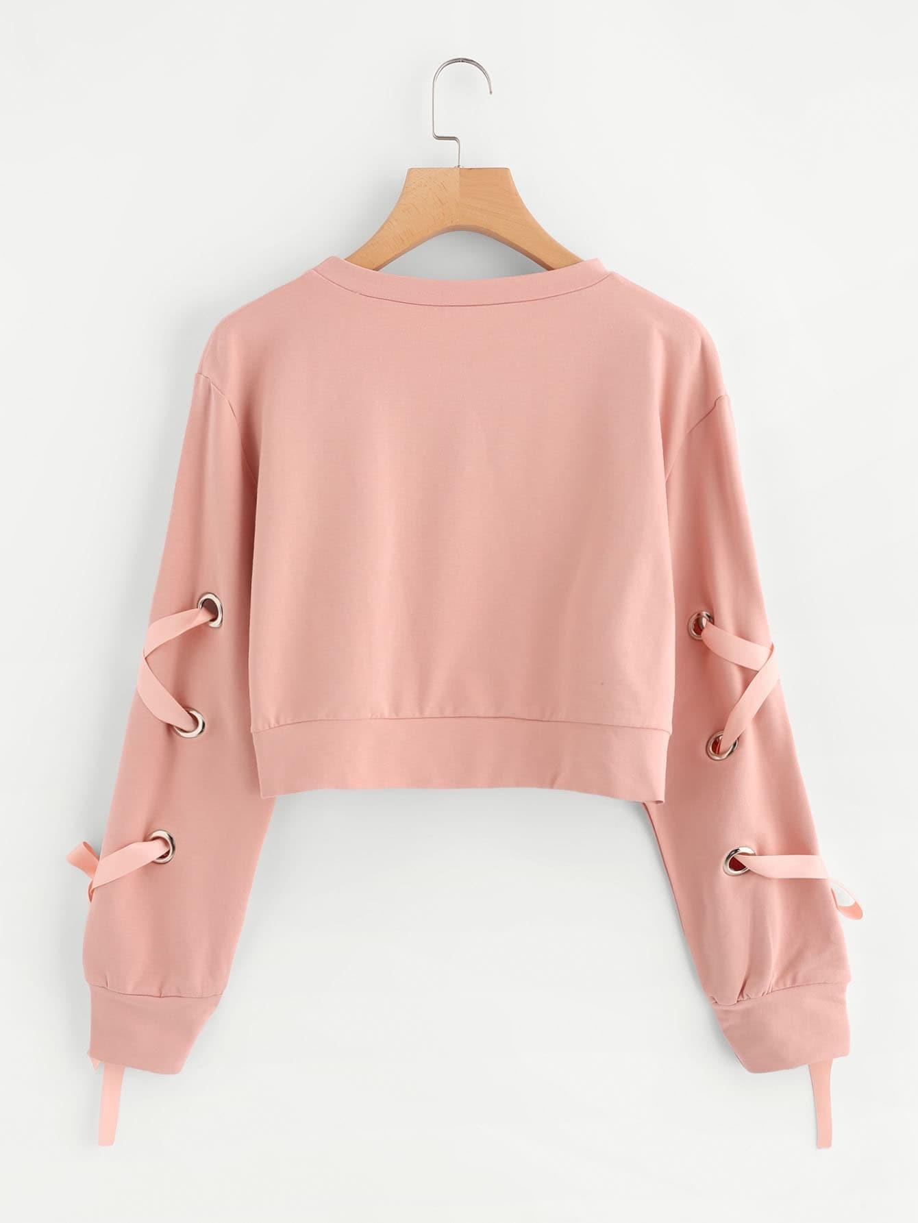 Eyelet Lace Up Sleeve Crop Sweatshirt