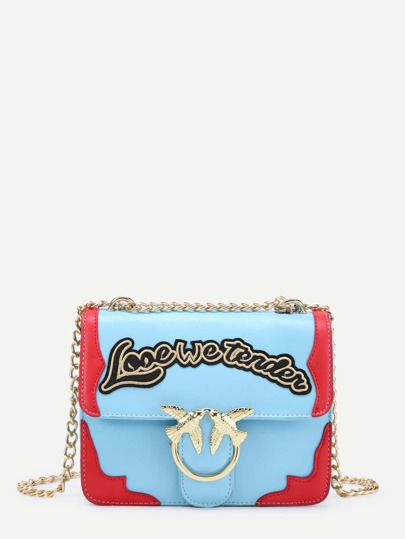 Double Bird Buckle Chain Bag With Letter Detail