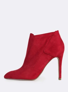 Point Toe Piped Heel Boots RED