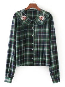 Flower Embroidery Pleated Detail Plaid Blouse