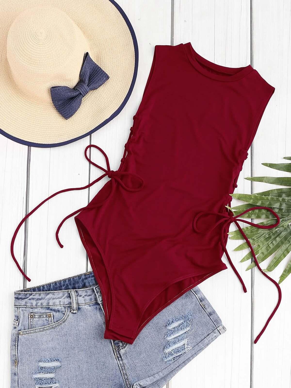 葡萄紅 交叉綁帶 側邊 無袖 連身衣