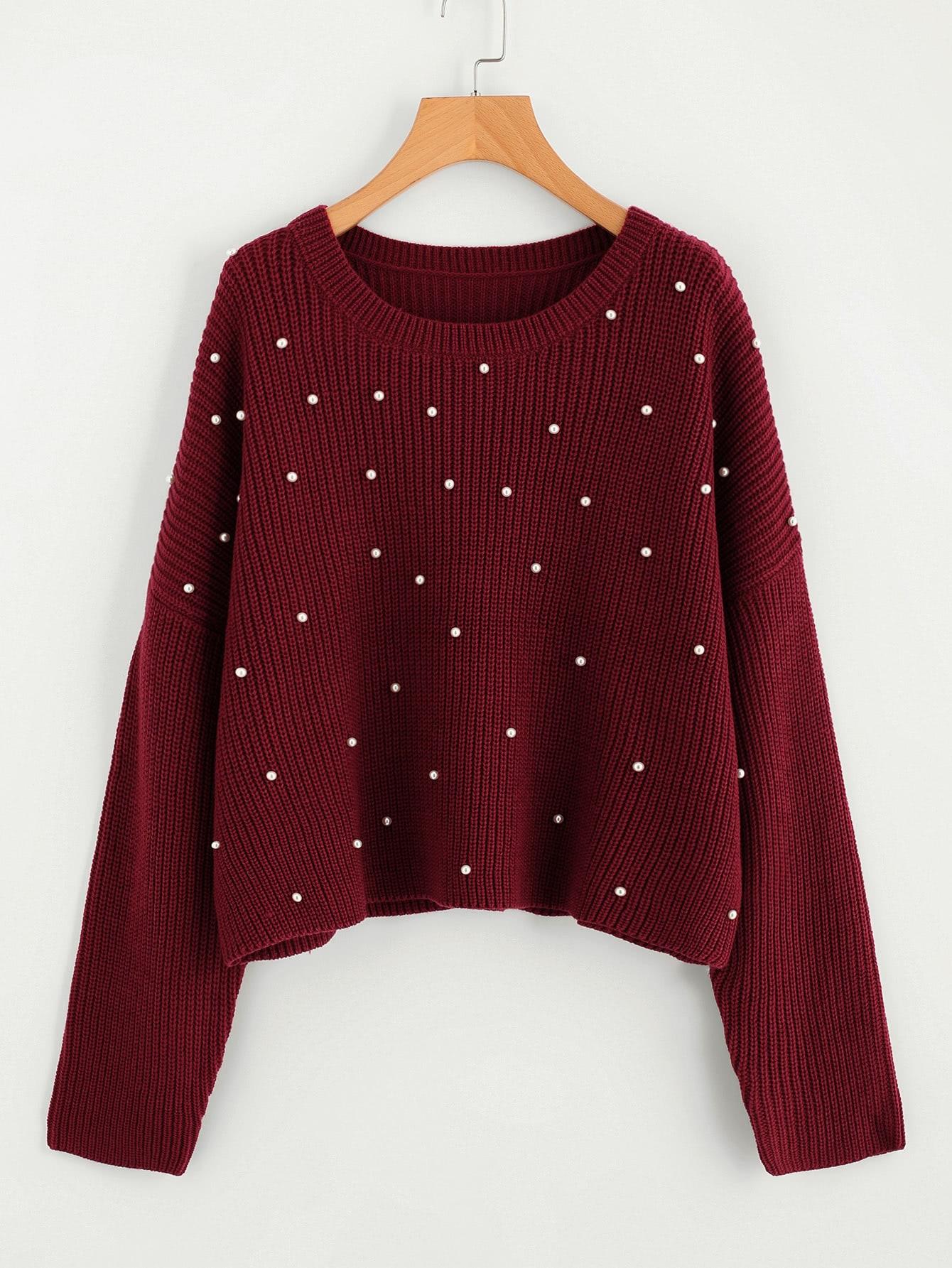Drop Shoulder Pearl Beading Sweater drop shoulder two tone eyelet sweater