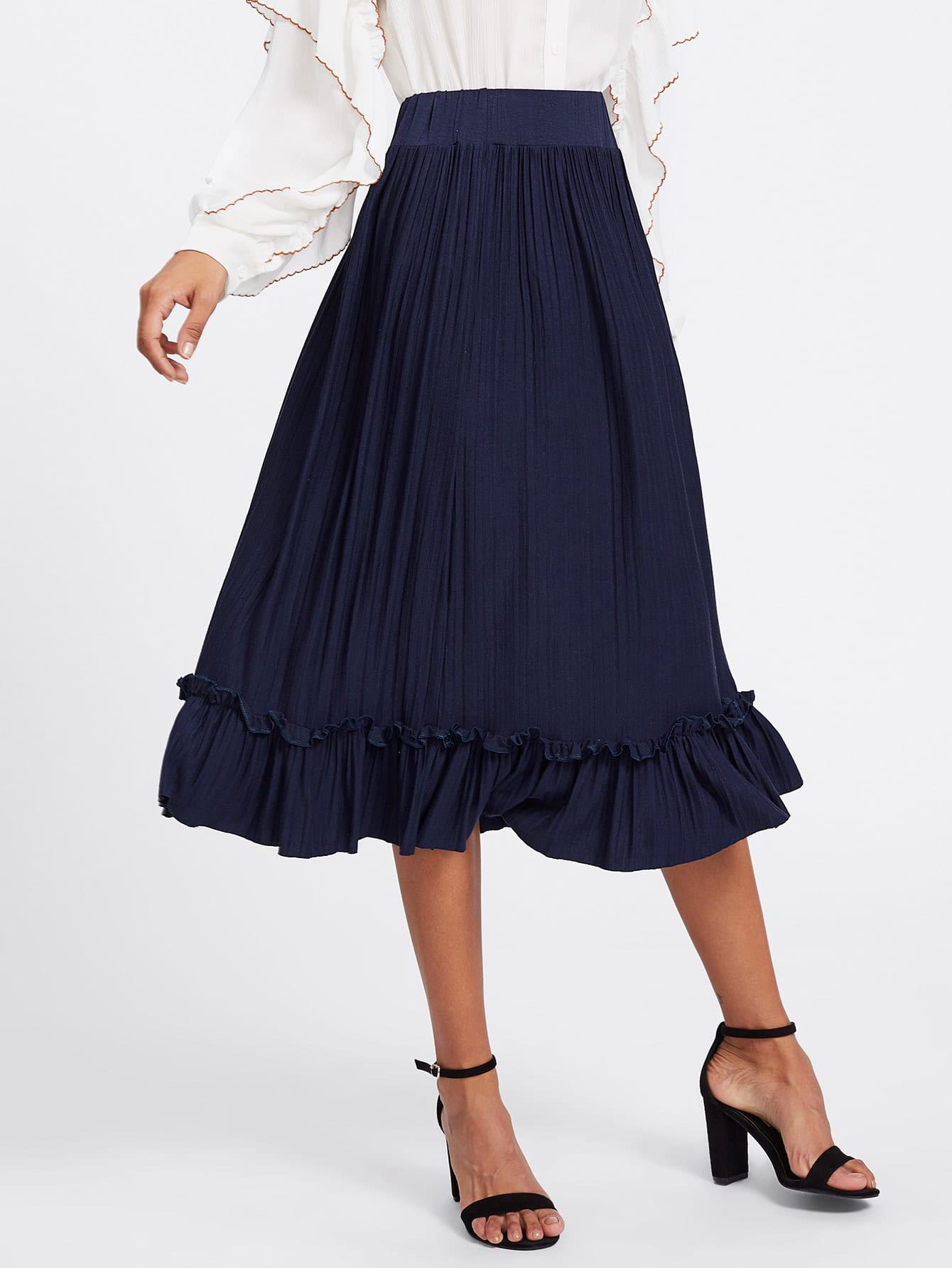 Box Pleated Ruffle Skirt