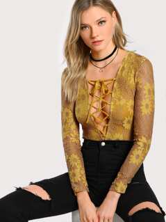 Lace Up Plunging Bodysuit