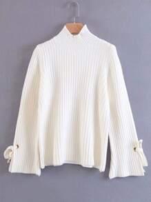 Tied Sleeve Rib Knit Sweater