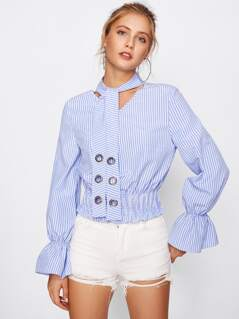 Grommet Tie Neck Bell Cuff Shirred Blouse