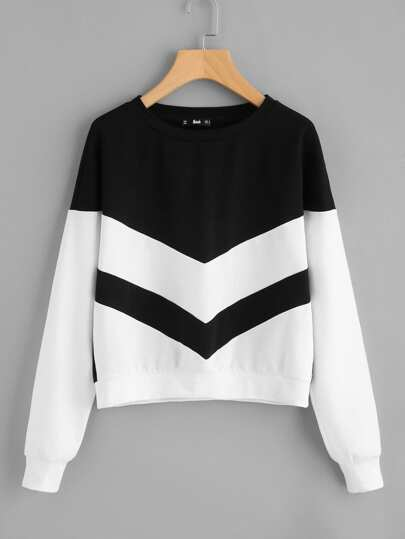 Two Tone Chevron Pullover