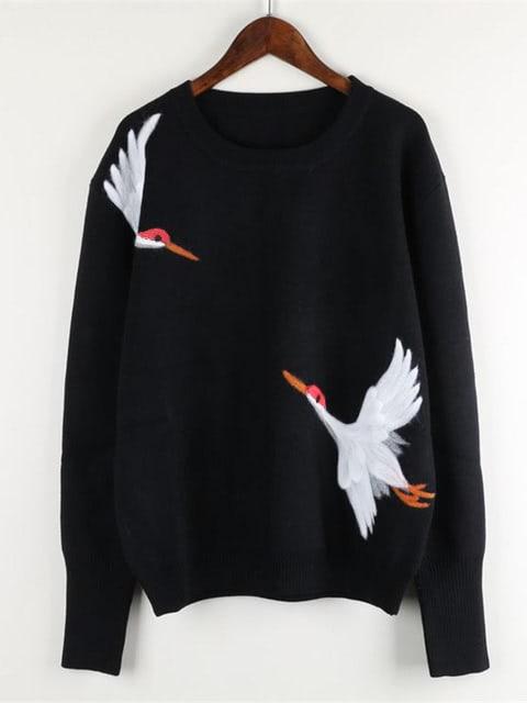 Crane Bird Embroidered Jumper drop shoulder crane bird embroidered sweatshirt