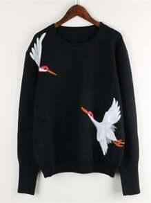 Crane Bird Embroidered Jumper