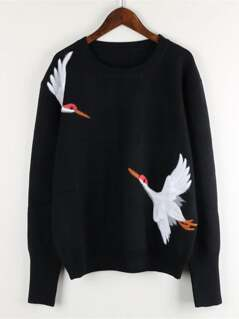 Crane Bird Embroidered Jumper