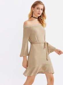 Bardot Self Tie Frill Hem Knit Dress
