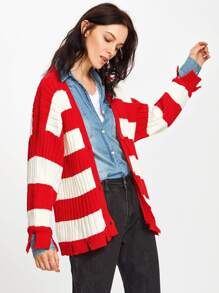 Block Striped Ripped Cardigan