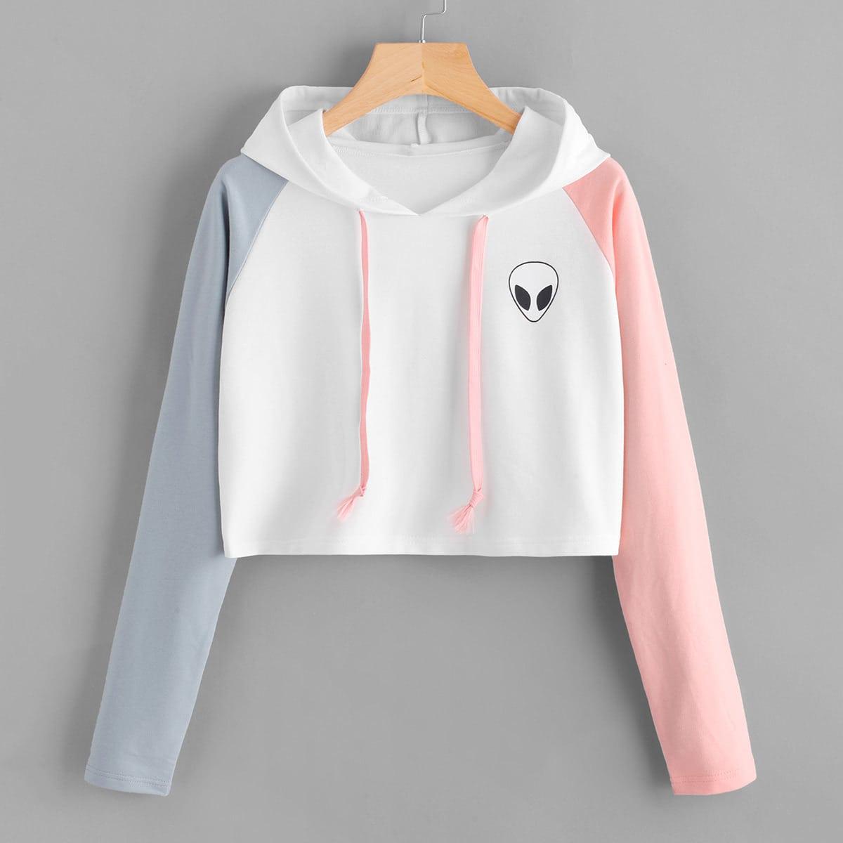 Multicolor hoodie met alien print